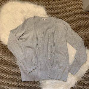 Joseph A Light Gray Cardigan Sweater Ruffle Detail